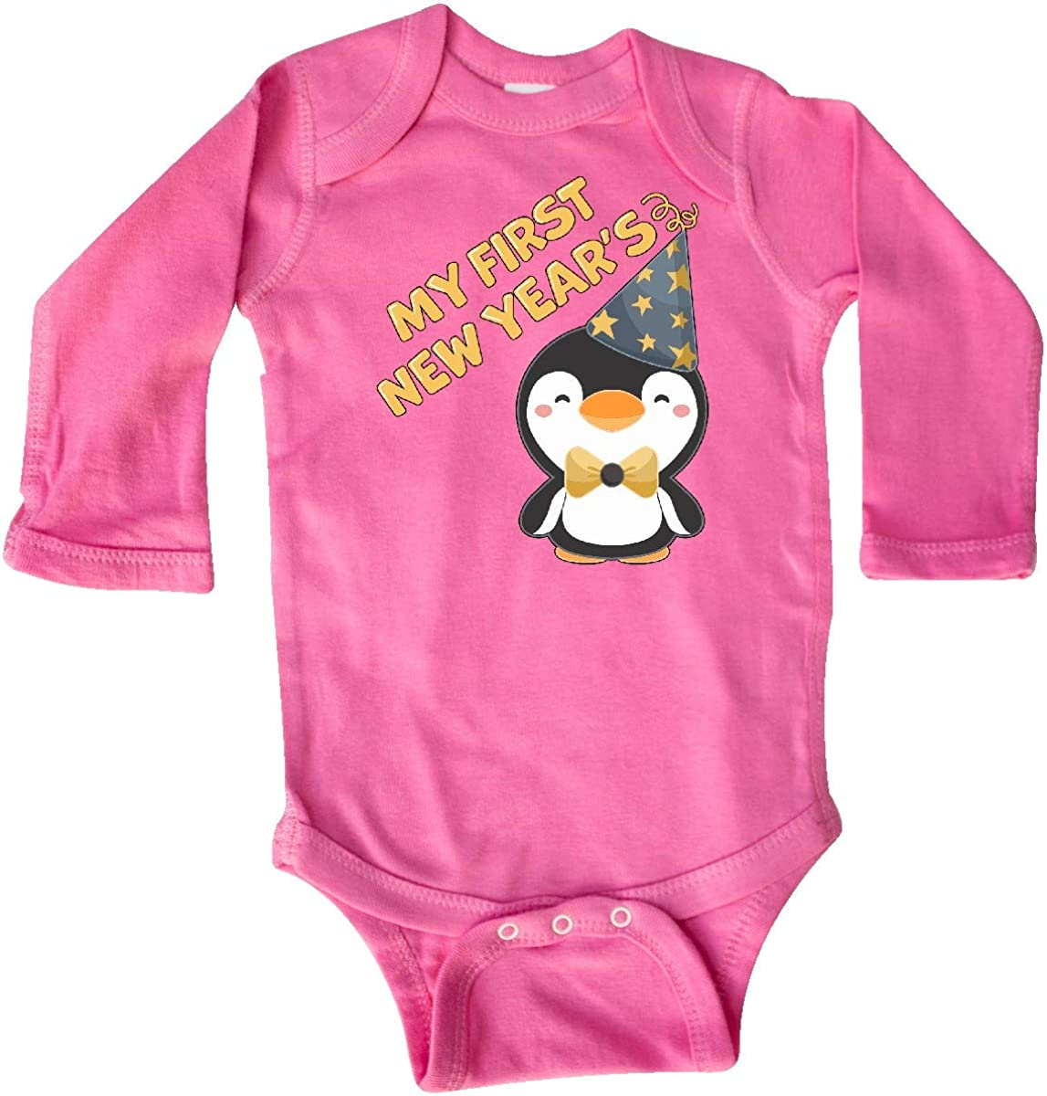 inktastic My 1st New Years with Cute Penguin in Blue Hat Long Sleeve Creeper