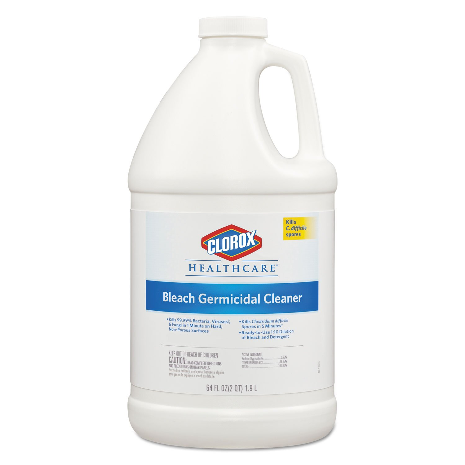 Clorox Healthcare 68973EA Hospital Cleaner Disinfectant w/Bleach 2qt Refill
