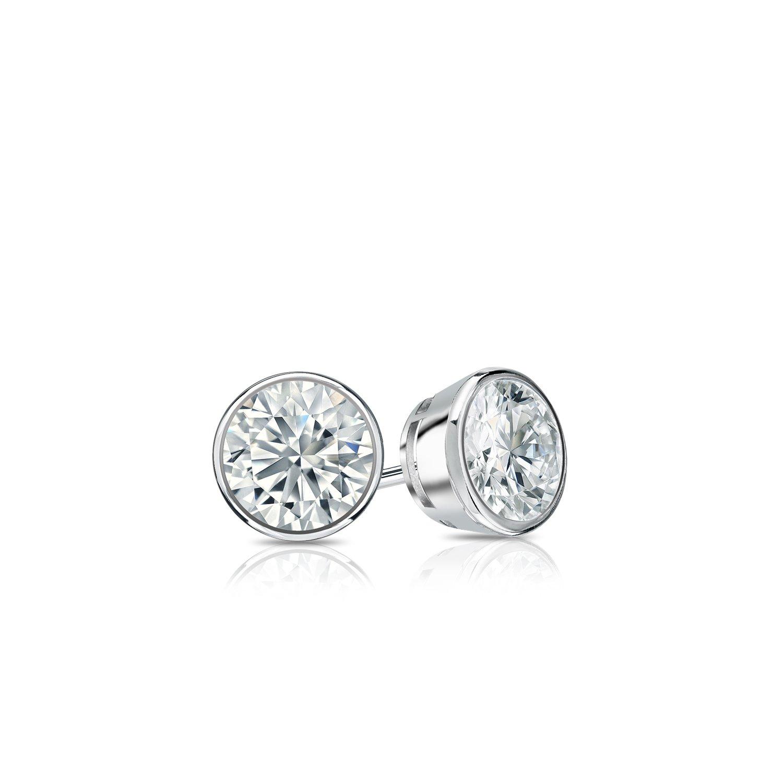 14k White Gold Bezel-set Round Diamond Stud Earrings (1/4 ct, G-H, SI2-I1) by Diamond Wish (Image #2)