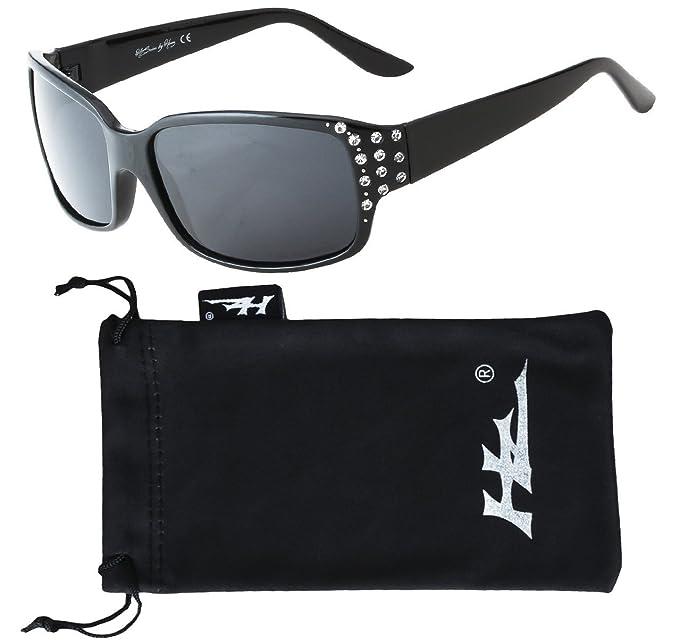 Hornz HZ Serie Diamante - Gafas de sol polarizadas para mujer Marco negro de medianoche - Lente de humo oscuro: Amazon.es: Ropa y accesorios