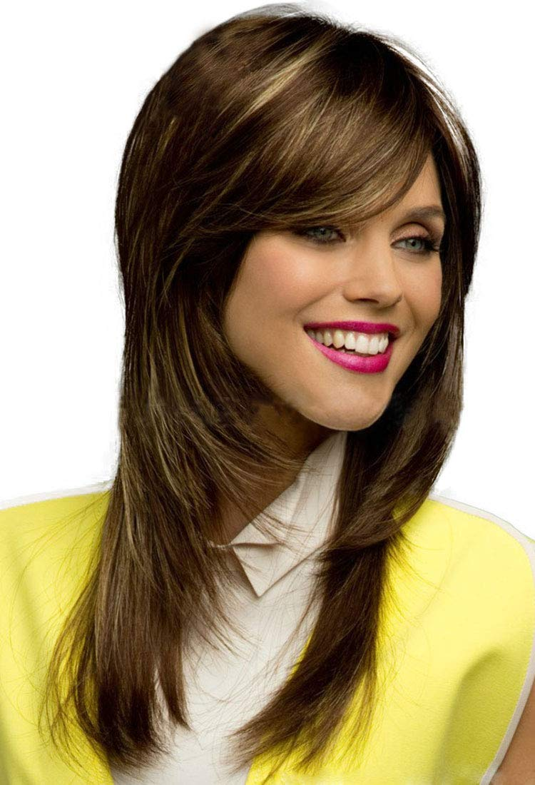Medium Long Layered Shoulder Length Two Tone Brown Straight Soft Hair Wig For Women Brown
