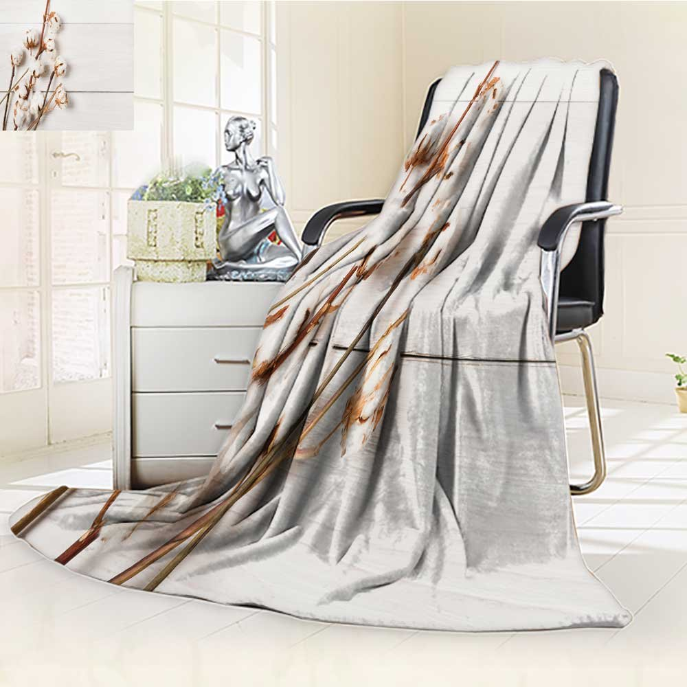 Luminous Microfiber Throw Blanket autumn composition dried white fluffy cotton flower top view on white wood with Glow In The Dark Constellation Blanket, Soft And Durable Polyester(60''x 50'') by Printsonne (Image #1)