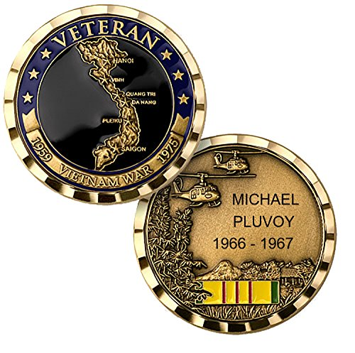 Personalized Custom Engraved Vietnam War Veteran Premium Brass Antique with Enamel - Challenge Coin - Medallion - 1 3/4 inch (44mm) Round