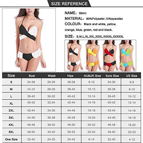Sidiou Group Nuevo Bikini bañador lazado con colores mezclados, bañador de 80% poliéster, Traje partido de baño con mezcla de doble color que concentra en el pecho negro Blanco