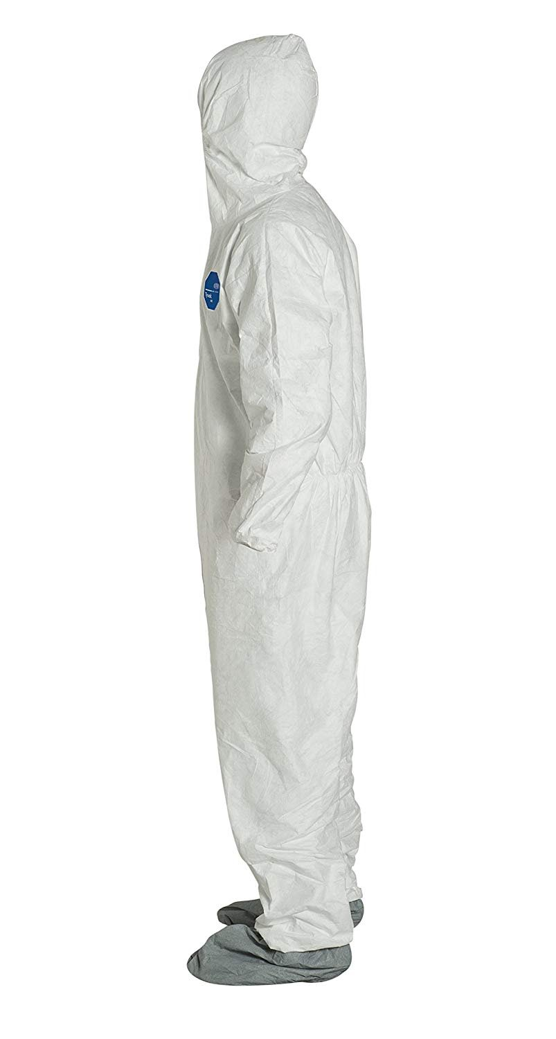 White 4X-Large Attached Hood and Boots Pack of 6 DuPont Tyvek 400 TY122S Disposable Protective Coverall with Elastic Cuffs