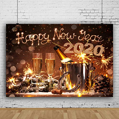 Laeacco 7x5FT Vinyl Backdrop New Years Eve Celebration Photography Background 2020 Happy New Year Champagne Bottles Bucket Horseshoe Lucky Charm Festival Background Bokeh Snowflakes Holiday