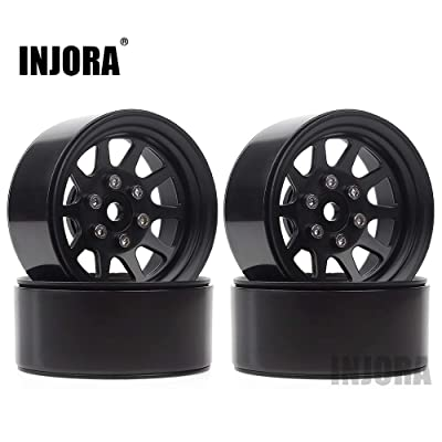 INJORA 1.9 Beadlock Wheel Rims for 1:10 RC Crawler Axial SCX10 90046 SCX10 III AXI03007 Traxxas TRX4 Redcat GEN8,Metal Alloy,107g/pcs (Black): Toys & Games