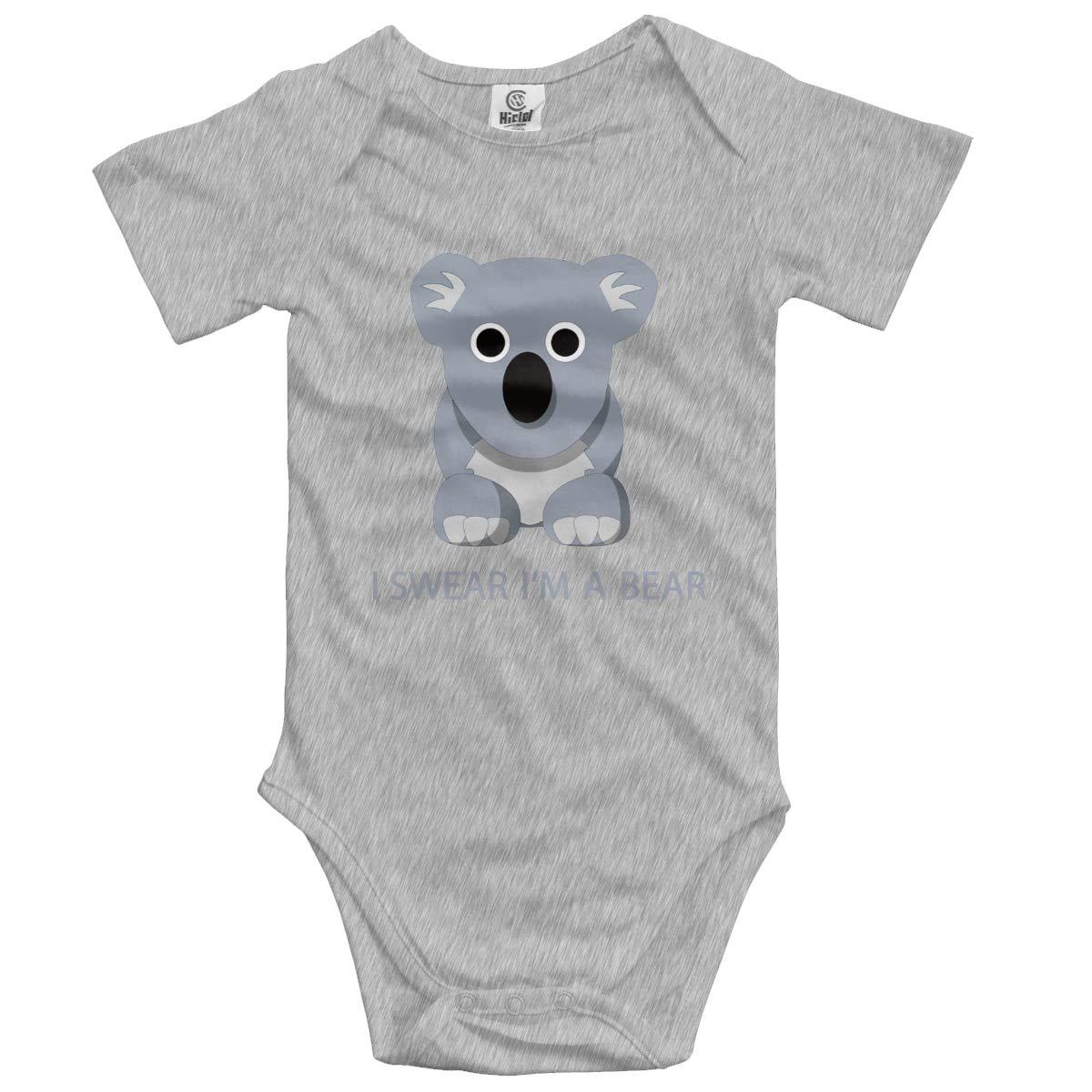 CHETI I Swear Im A Bear Newborn Infant Toddler Baby Girls Boys Bodysuit Short Sleeve 0-24 MonthsBlack