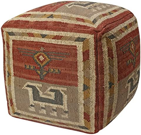 Pouf Ottoman Tribal Jute and Wool, 24-Inch, Red