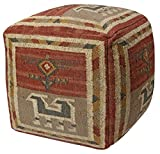 Cheap Pouf Ottoman Tribal Jute and Wool, 24-Inch, Red