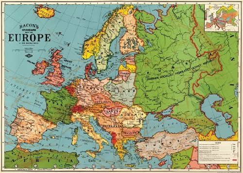 Cavallini & Co. Europe Map Decorative Decoupage Poster Wrapping Paper Sheet (Europe Chart)