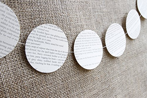 Handmade Circle Shaped Garland – Made from genuine Harry Potter books - 3 inch circles - Garland approx 10ft