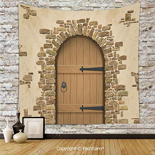 FashSam Hanging Tapestries Wine Cellar Entrance Stone Arch Ancient Architecture European Building Decorative Wall Blanket for Living Room Dorm Decor(W39xL59)