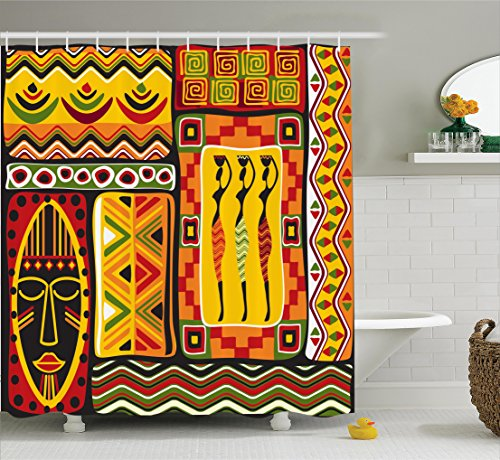 Ambesonne African Decorations Collection, African Elements Decorative Historical Original Striped and Rectangle Shapes Artsy Work, Polyester Fabric Bathroom Shower Curtain, 75 Inches Long, - Shape Rectangle
