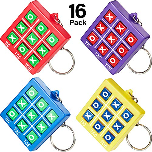 16 Pieces Tic Tac Toe Keychain Durable Plastic Keyholders for Mini Backpack Clip Christmas Gift Keyring for Bag Birthday Tic Tac Toe Party Favor Party Gift for Boy Girl Back to School Item