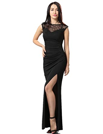 ohyeahlady Womens Elegant Long Dress High Slit Sequin Party Dress (Medium=UK 6-