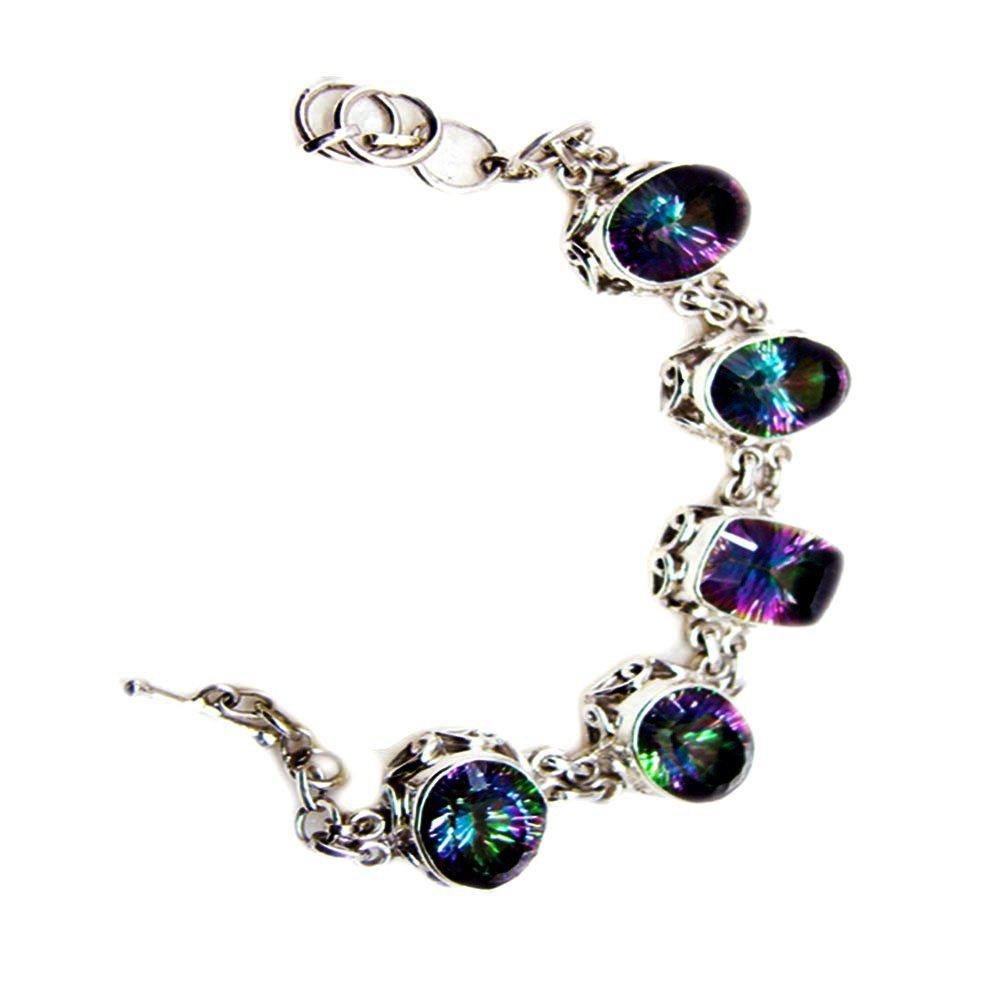 Mystic Quartz CZ Sterling Silver Bracelet Link Style Mixed Shape Handmade Jewelry For Men & Women