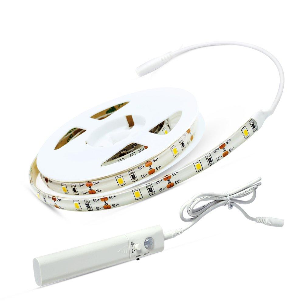 Aled Light LEDテープライトストリップロープライトキット階段Nightステップ照明モーションセンサー付きforベッドキッチンキャビネット引き出し( 4 AAA電池Operated , not included ) 1PACK ホワイト AL10DCDD B06WWGKQNZ