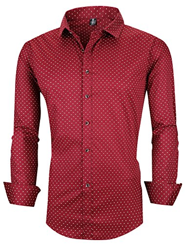 XTAPAN Men Long Sleeve Casual Slim Fit Printed Button Down Dress Shirt Polka Dot Wine Red Asian 3XL=US M 1809 -