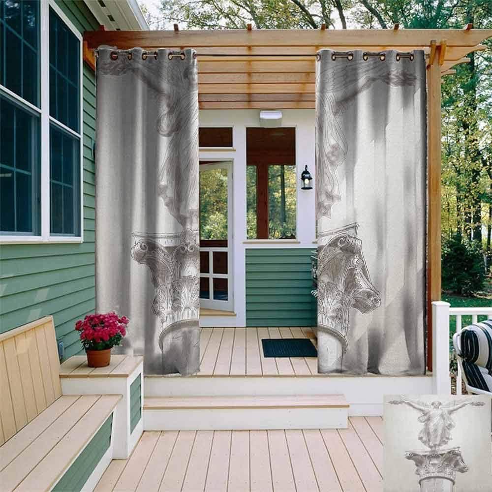 DONEECKL - Cortina Impermeable para Exteriores con diseño de pájaro Sentado en una Imagen de Calavera Antigua con Ojales, aislada con Cortinas para Dormitorio, Color Gris y Blanco: Amazon.es: Jardín