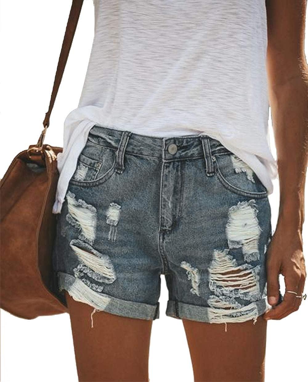 Uni-Wert Damen Jeansshorts Basic in Aged-Waschung Jeans Bermuda-Shorts High Waist Denim Kurze Hose Sommer Mode Destroyed Loch Hotpants Shorts