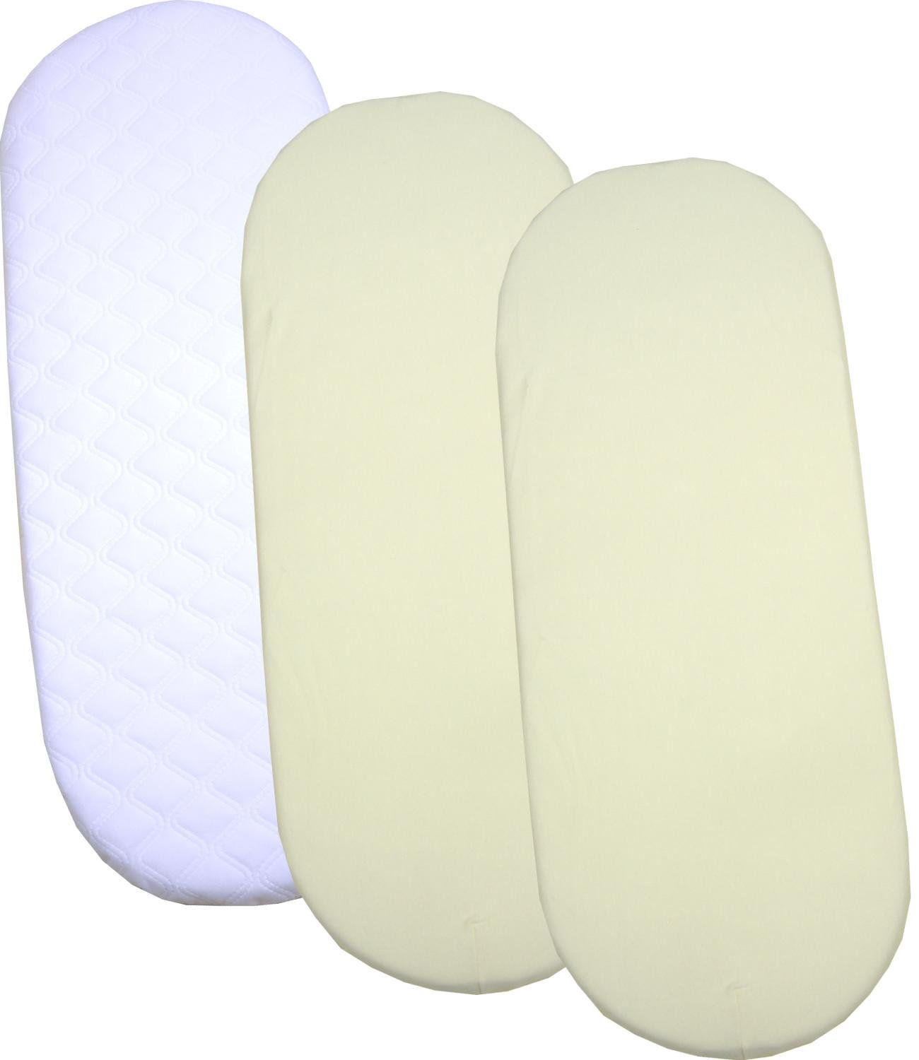 BabyPrem Quilted Moses Mattress & 2 Fitted sheets 29 x 11'' CREAM