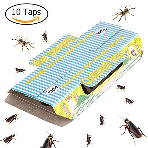 Trapro Cockroach Traps with Bait Included, Non-Toxic and ECO-Friendly - 10 Pack
