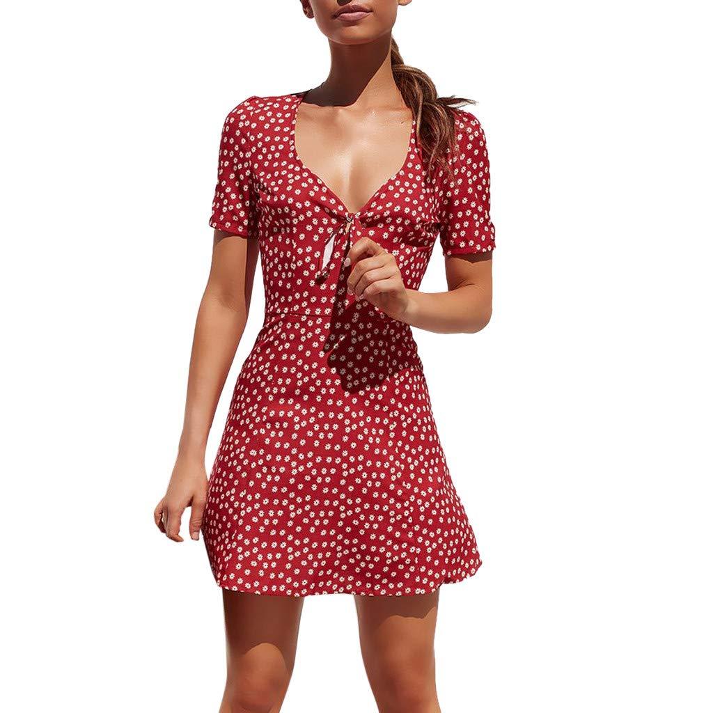Women's Boho Mini Dress | Hopwin Ladies v-Neck Front Knot Floral Printed Dresses Short Sleeve Dot Sundress (L, Red)