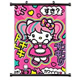 Hello Kitty Anime Fabric Cute Wall Scroll Poster (16x21) Inches