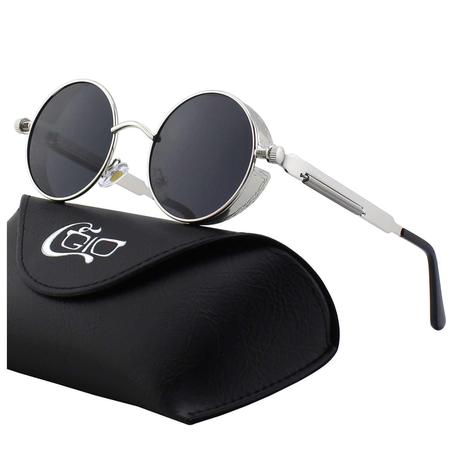 CGID E72 Retro Steampunk Style Men Women Round Metal Circle Polarized Sunglasses US17MJ372-3