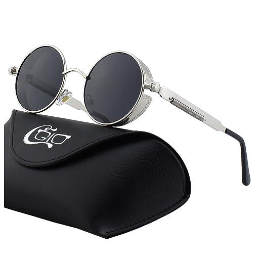 CGID E72 Steampunk estilo retro inspirado círculo metálico redondo gafas de sol polarizadas para hombres (Plateado Gris)