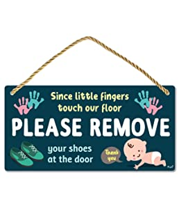 Funplus Please Take Your Shoes Off - Remove Your Shoes Sign - 10″x5″ PVC Plastic Hanging Sign- Since Little Fingers Touch Our Floor