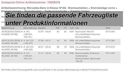 BREMSTROMMELN 180mm BREMSBACKEN RADBREMSZYLINDER ZUBEHÖR MERCEDES A-KLASSE W168