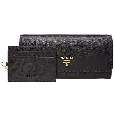 afa012ba60a5 (プラダ) PRADA 財布 長財布 二つ折り パスケース付き ブラック レザー 1mh132safmet-