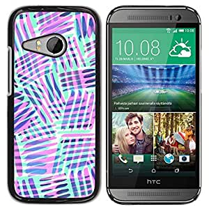 TaiTech / Hard Protective Case Cover - Purple Lines Abstract Pattern - HTC ONE MINI 2 / M8 MINI