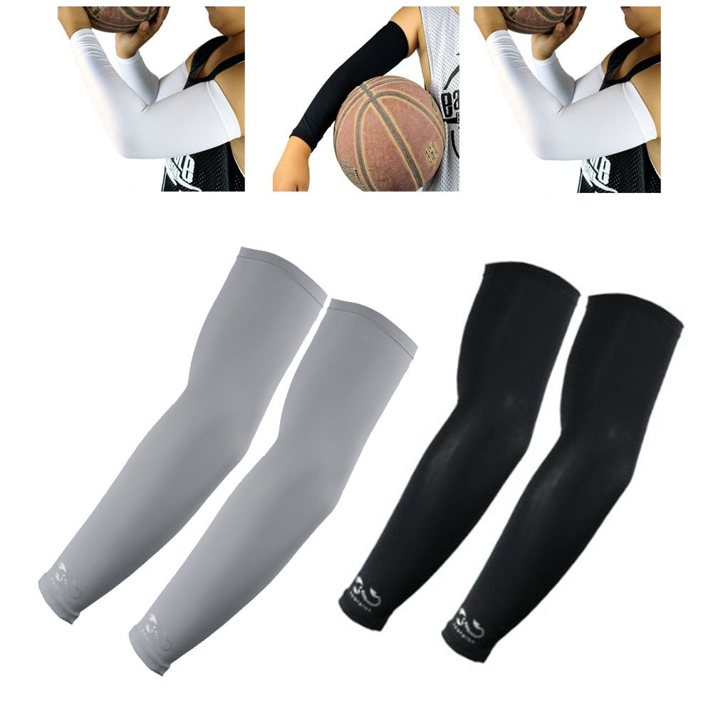 2 Pairs, Child Kids Boys Girls Youth Anti-Slip Arm Sleeves Cover Skin UV Protection Sports Stretch Basketball Running Cycling, Gray, Black