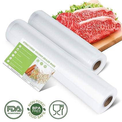 Laluztop Bolsas al Vacío, Rollos para Sellador de Vacío 2 Packs Bolsas Gofradas para la Conservación de Alimentos Protector la Comida, Libre de BPA ...