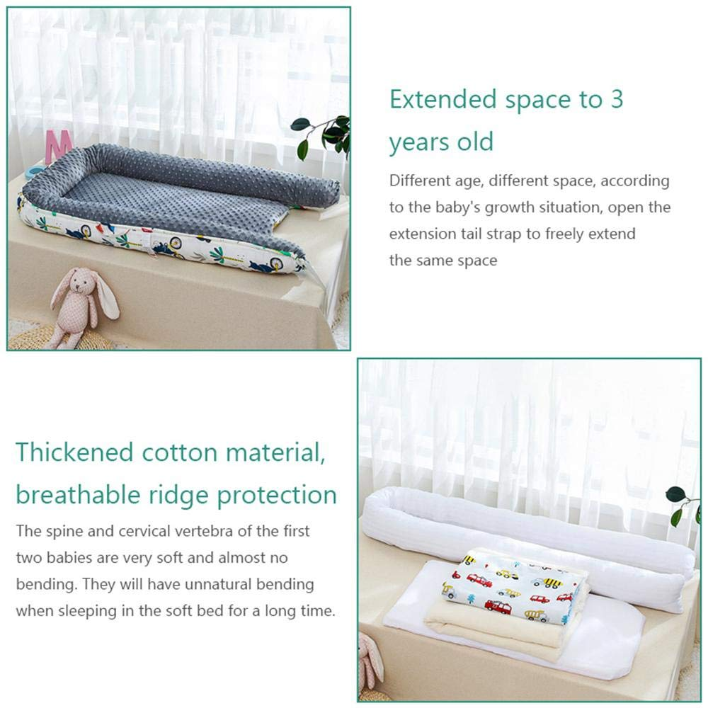 Volwco Newborn Lounger,Small Pillow mat and Quilt-Portable Breathable Baby Snuggle Nest,Removable Cover Baby Bionic Bed,Cotton Soft and Breathable Printed Baby Snuggle Crib for Bedroom//Travel//0-3years