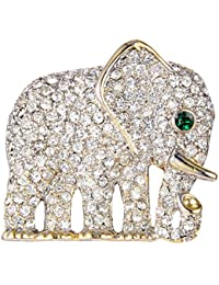 Gold-Tone Austrian Crystal Gorgeous Adorable Little Elephant Brooch Pin Clear