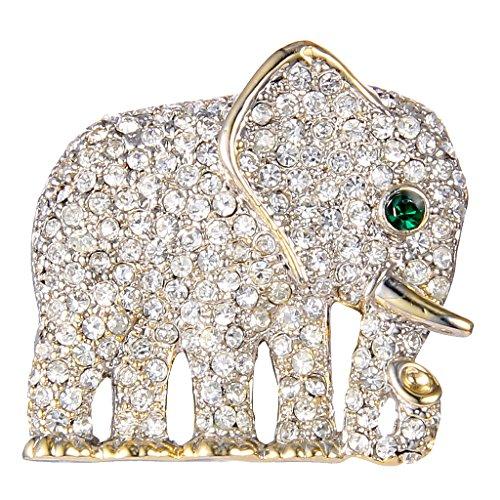 EVER FAITH Gold-Tone Austrian Crystal Gorgeous Adorable Little Elephant Brooch Pin Clear