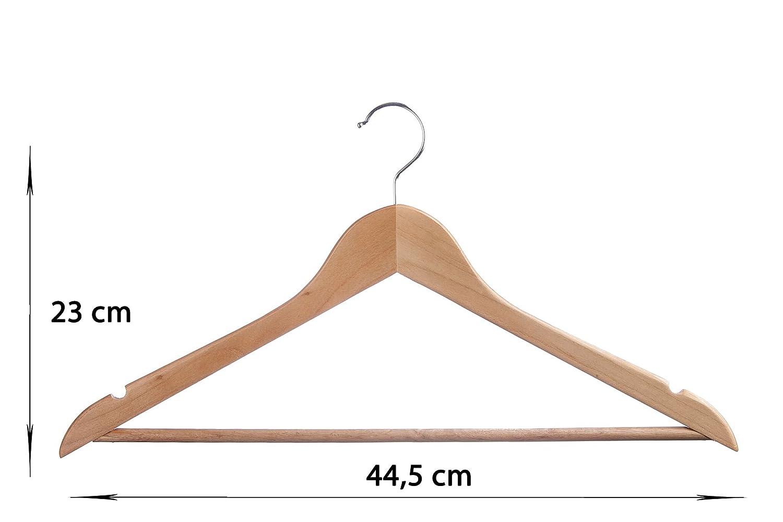 resistentes multiusos con barra de pantalones y muescas para faldas Paquete de 20/perchas tradicionales de madera 44,5/cm de Homely World