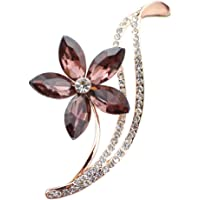 HENGSONG Grey Flower Crystal Clothes Pin Brooch Shiny Rhinestone Pin Brooches for Women Jewelry for Girlfriend Her Valentine Christmas Birthday Gift