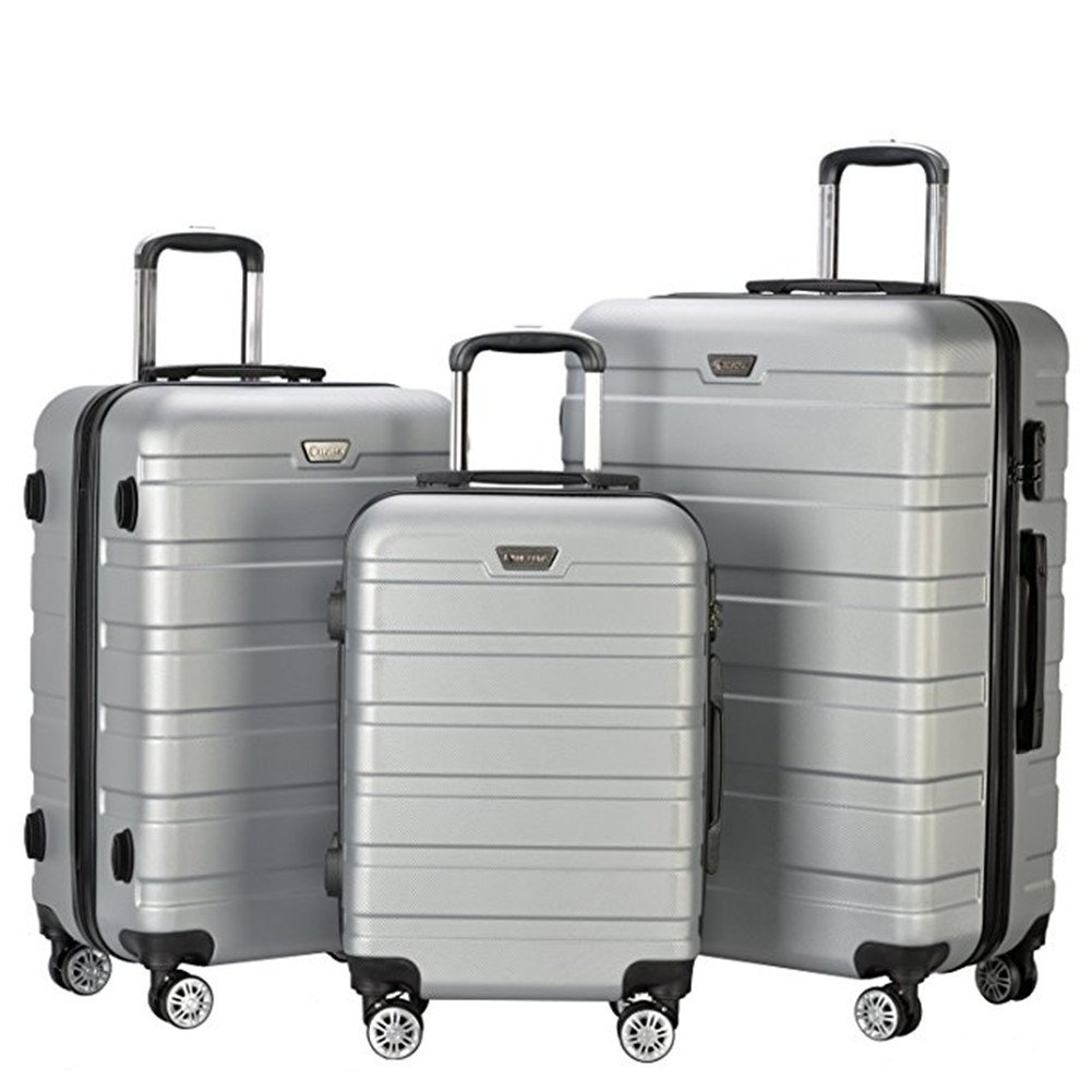 Resena 3 Pieces Hardside Spinner Luggage Sets ABS Travel Lightweight Carry On Suitcase (20'' 24'' 28'' Standard Size) (Gray)