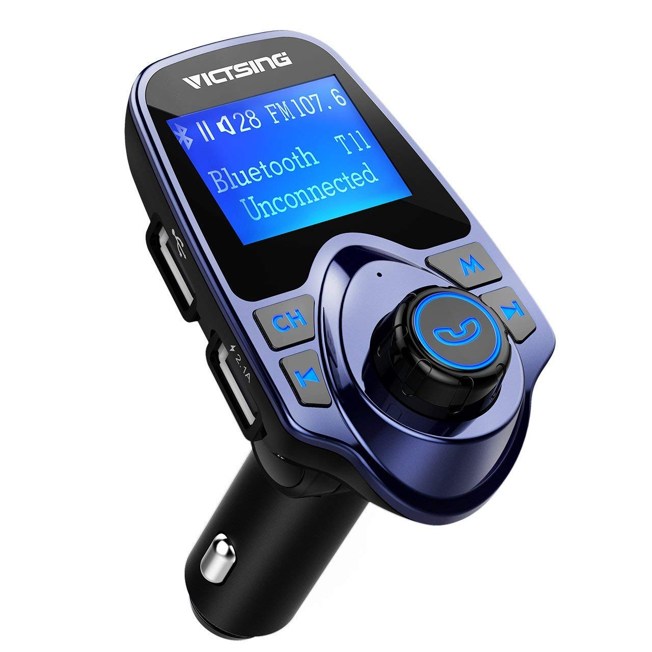 VicTsing Bluetooth FM Transmitter for Car, Wireless Bluetooth Radio Transmitter Adapter with Hand-Free Calling and 1.44'' LCD Display, Music Player Support Tf Card USB Flash Drive Aux-Blue