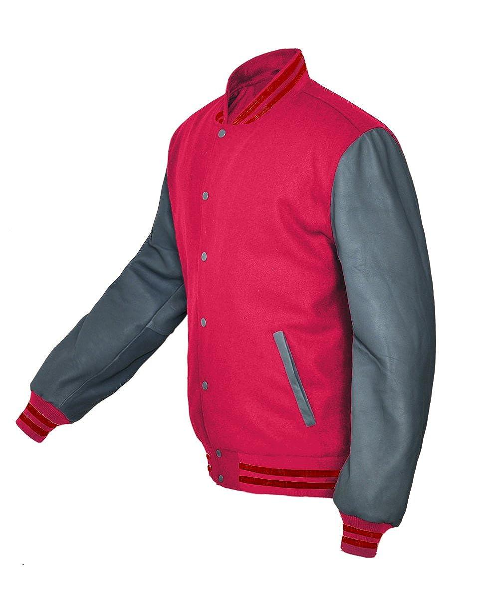 luvsecretlingerie Superb Genuine Grey Leather Sleeve Letterman College Varsity Kid Wool Jackets