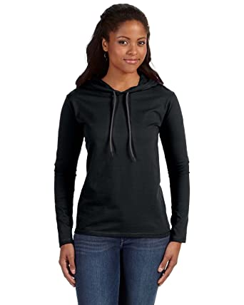 Amazon.com: Anvil Ladies Ringspun Long-Sleeve Hooded T-Shirt ...