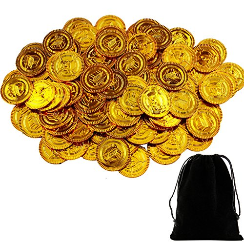 Coobey 100 Pieces Pirate Gold Coins Plastic Coins Treasure Coin for Play Favor Party (Plastic Treasure)