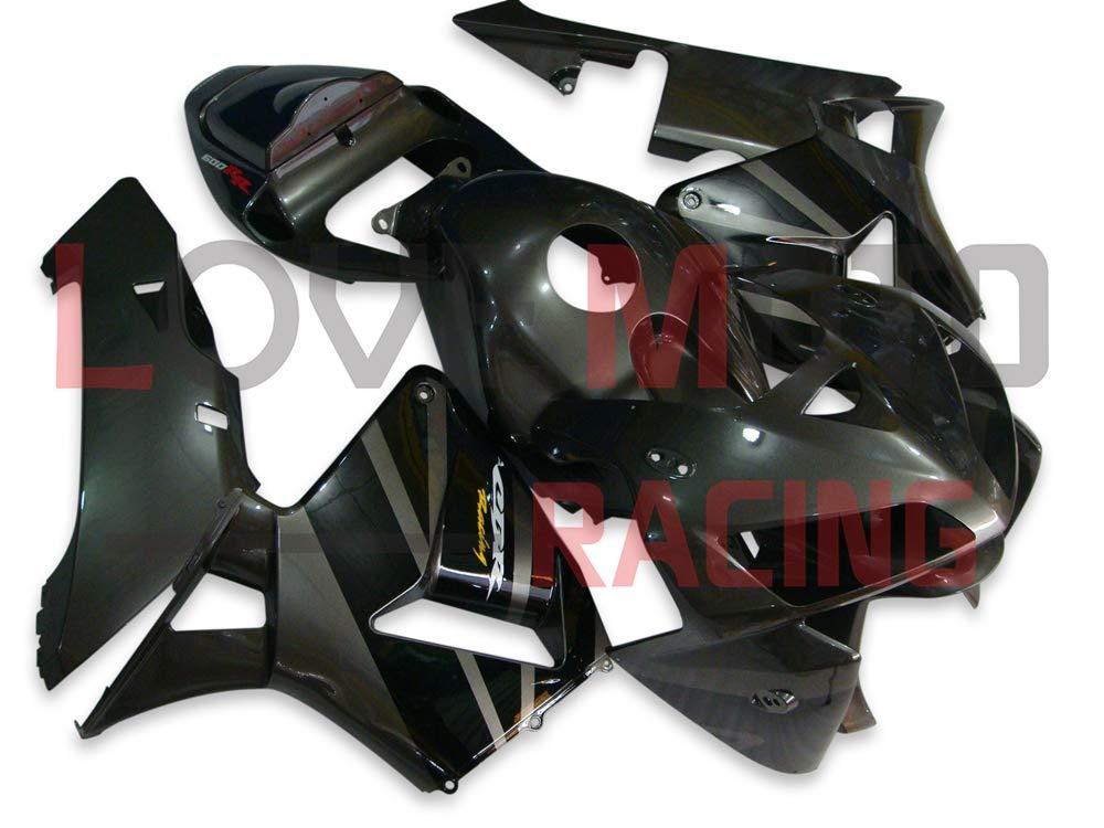 LoveMoto ブルー/イエローフェアリング ホンダ honda CBR600RR F5 2005 2006 05 06 CBR600 RR F5 ABS射出成型プラスチックオートバイフェアリングセットのキット ブラック   B07KC216TP