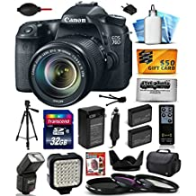 Canon EOS 70D Digital SLR Camera with 18-135mm STM Lens includes 32GB Memory + Large Case + Tripod + Flash + LED Video Light + Two Extra Batteries + Travel Charger + Lens Hood + UV-CPL-FL Filters +