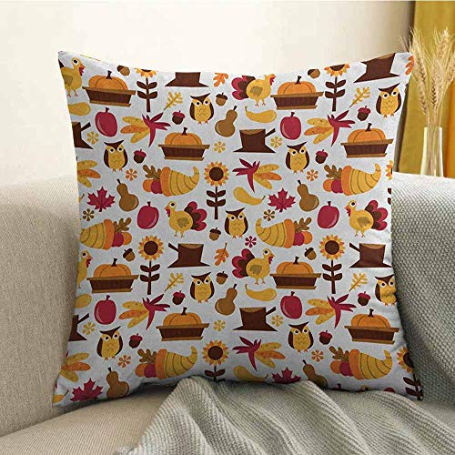 - FreeKite Harvest Silky Pillowcase Cute Cartoon Fall Composition Nuts Maple Leaves Owls Roosters Pumpkins Super Soft and Luxurious Pillowcase W16 x L16 Inch Yellow Brown Red Orange